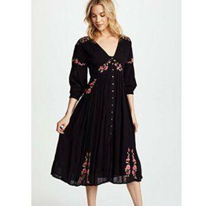 Free people Womens Sz XS Day Glow Midi Dress Black